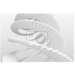 Obraz Białe schody spiralne na szarym tle. 3d ilustracji