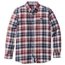 Koszula flanelowa w kratę Regular Fit bonprix jasnoszaro-niebiesko-czerwony w kratę