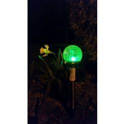 Lampa ogrodowa LED SOLARNA POLUX KULA SL2302S RGB szklana Inox