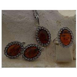 ELANI - srebrny komplet bursztyny i kryształki