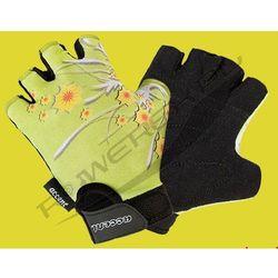 610-32-32_ACC-XS Rękawiczki dziecięce DAISY zielone, wzór kwiaty XS