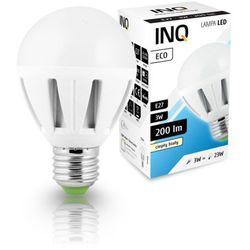 LED E27 Eco 3W ciepło-biała - żarówka kulka LED INQ