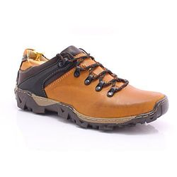 KENT 116 ŻÓŁTE - Trekkingowe buty męskie 100% skórzane