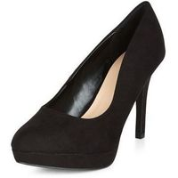 Wide Fit Black Platform Court Shoes
