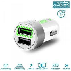 Rovens.pl PURO Mini Car Fast Charger - Uniwersalna ładowarka samochodowa 2 x USB 2.4 A z niebieskim podświetleniem LED round (biały)