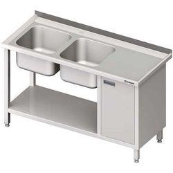 Stół ze zlewem dwukomorowym z szafką i półką STALGAST 1900x600x850 lewy