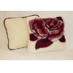 Poduszka z wełny merynosa 40x45 - Róża bordo