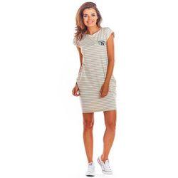 8df5f50f Beżowa Dzianinowa Mini Sukienka z Kieszeniami w Paski