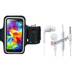 Zestaw 2w1 Etui armband opaska sportowa do biegania + Słuchawki Samsung Galaxy S6, S5, Note 4, 3, 2, Grand 2, Neo + - Czarna opaska / Białe słuchawki