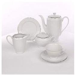 Zestaw do kawy dla 12 osób porcelana Ćmielów Feston Platynowy Pasek