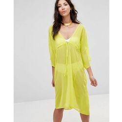 Twin Sister Midi Tie Up Kaftan Dress - Yellow