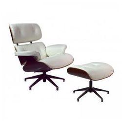 Fotel Luce inspirowany Lounge Chair biały z podnóżkiem