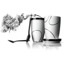 Menu BLACK CONTOUR Kubki Termiczne z Podstawkami i Łyżeczkami do Herbaty lub Kawy Latte