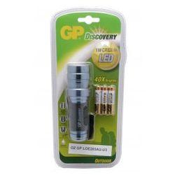 latarka diodowa,korpus z anodowanego aluminium;zasilanie 3 baterie AAA(załączone 3x24AU) dioda LED CREE 1W (65 lumenów), 37x120mm 120g, 1szt/blister