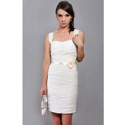 Klasyczna drapowana sukienka z szyfonu Arena Stylu, biała 923 -3