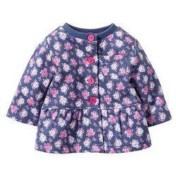 Bluza niemowlęca rozpinana, bawełna organiczna bonprix indygo - jasnoróżowy w kwiaty