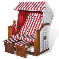 vidaXL Leżak plażowy, składany, czerwono biała krata Darmowa wysyłka i zwroty