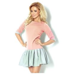 86-1 Różowa sukienka z szarą spódniczką