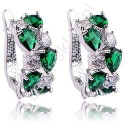 Eleganckie kolczyki, posrebrzane zielony + kryształowy