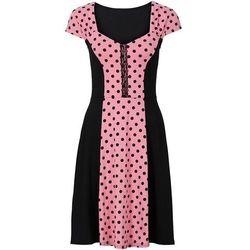 Sukienka w groszki bonprix koralowo-czarny w groszki