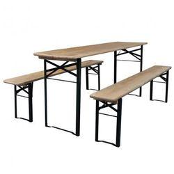 Składany stół ogrodowy z dwiema ławkami Zapisz się do naszego Newslettera i odbierz voucher 20 PLN na zakupy w VidaXL!