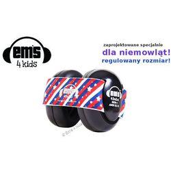 Słuchawki ochronne nauszniki dla dzieci 0+, EM'S - czarna-pasy-i-gwiazdy