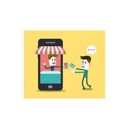 Foto naklejka samoprzylepna 100 x 100 cm - Zakupy, sklep internetowy na inteligentnego telefonu.