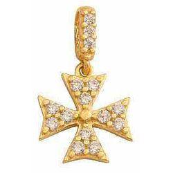 Przywieszka w kształcie krzyża harcerskiego z cyrkoniami. 40981