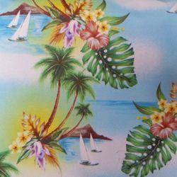 Torba plażowa z motywem tropikalnym - niebieski ||zielony ||biały ||wielobarwny ||kolorowy ||żółty