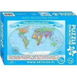 Puzzle edukacyjne. 260 elementów. Mapa polityczna świata + zakładka do książki GRATIS