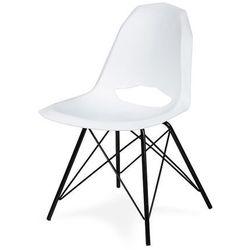 Krzesło GULAR DSM - Białe, nogi metalowe czarne.