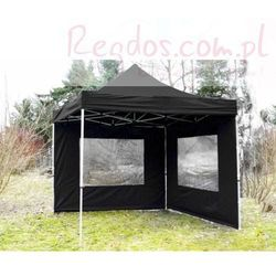 Pawilon Profi, 3x3 automatycznie rozkładany, materiałowy namiot handlowy + 2 ścianki - czarny