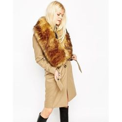 ASOS Coat with Faux Fur Stole - Stone