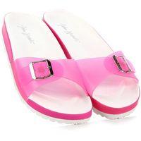 WISHOT różowe klapki damskie basenowe plażowe - różowy