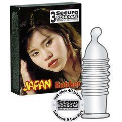 Secura Japan Rubber Condoms Prezerwatywy prążkowane ze zbiorniczkiem 3 sztuki