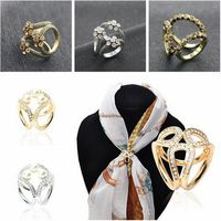 Contracted Brooch Crystal Pearls Tricyclic Scarf Circle Clip Pins Brooch For Women Scarf Accessories Jewelry Wholesale