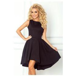 66-2 Gruba Lacosta - Ekskluzywna sukienka z dłuższym tyłem - czarna