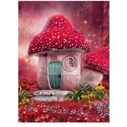 Naklejka Zaczarowany Różowy domek z grzyba