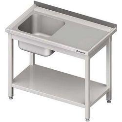 Stół ze zlewem jednokomorowym z półką STALGAST 900x600x850 lewy