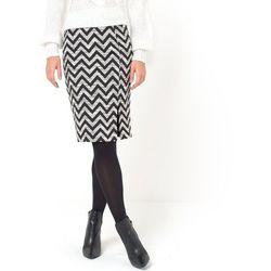 Żakardowa ołówkowa spódnica w skośny zygzakowaty wzór