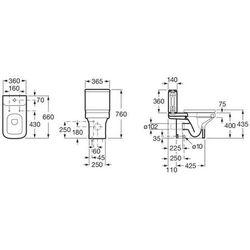 Jednoczęściowy zbiornik WC 3/4,5 L bez pokrywki do kompaktu WC Roca Dama-N (Compacto) A341784000