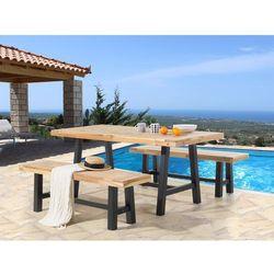 Meble ogrodowe czarno-brązowe - ogród - stół z 2 ławkami - SCANIA