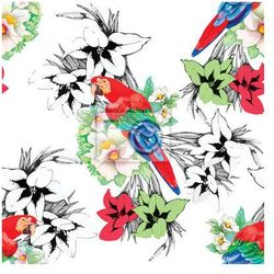 Fototapeta Papugi akwarela na tle kwiatów. Szwu.