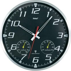 Zegar ścienny z termometrem i wilgotnościomierzem Mebus 52660 Sterowany radiowo, (ØxG) 35 cmx5 cm
