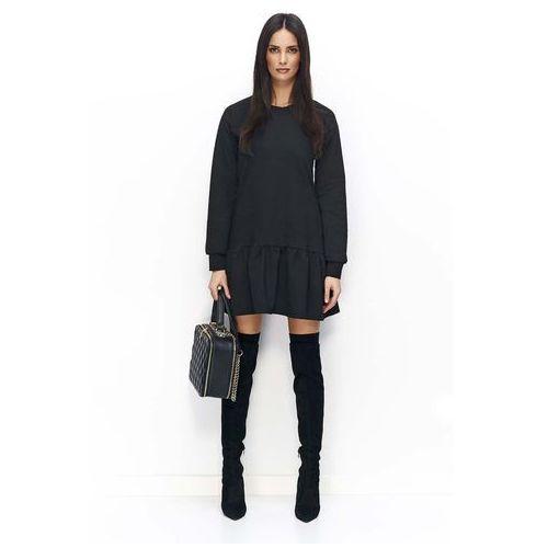 7876c270bb Czarna Sukienka Casual z Falbanką na Długi Rękaw - porównaj zanim kupisz