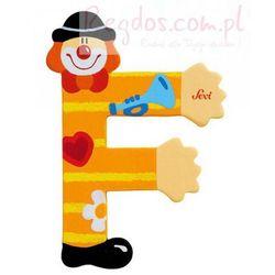 Drewniana literka F, Clown