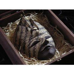 Dekoracyjny Prezent RZEŹBA Egzotyczna Maska DOSTOJNOŚCI Z PAWIEM
