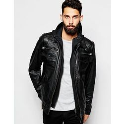 Schott Leather Jacket with Hoodie Insert - Black