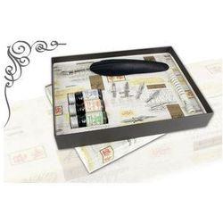 Zestaw do kaligrafii La Kaligrafica ( pióro gęsie ze stalówką + 3 atramenty + 6 stalówek ) - złoty