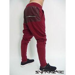 Spodnie bordowe baggy skórzane wstawki